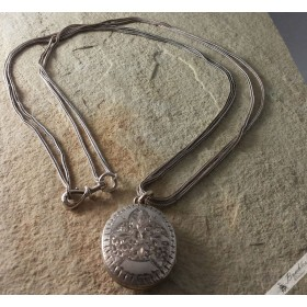 Vintage French Long Guard Silver Locket Necklace