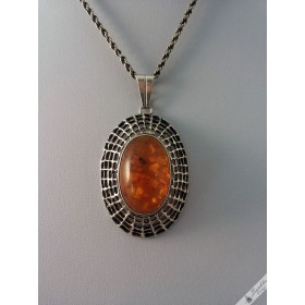 German Vintage Silver Oval Baltic Amber Necklace by G. Kramer, Fischland