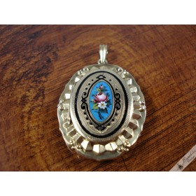 Antique Biedermeier Enamel Hand Painted 14k Gold Locket c1840