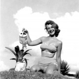 Barbara Laney modeling a two piece swim suit Winter Haven Florida 1955