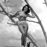 Carol Clough modeling on Clearwater Beach Florida 1960