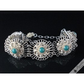 Vintage Filigree 900 Silver Bracelet with Green Czech Glass Cabochons