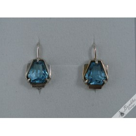 Vintage Czech Art Deco Blue Simulated Topaz 900 Silver Earrings c1950s