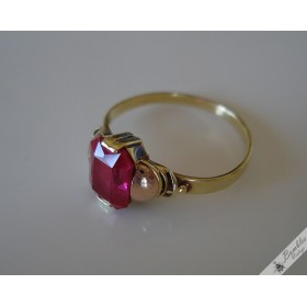 Vintage Bohemian 14k Yellow & Rose Gold sim. Ruby European Czech Ring c1970