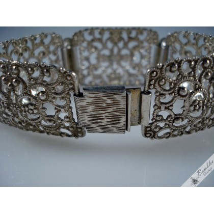 Silver Ornate Filigree Wide Panel Czech European Bracelet c1950