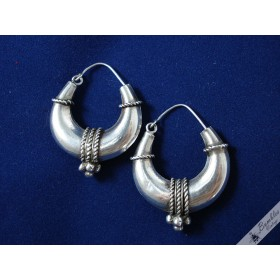 Retro Vintage Sterling Silver Nautical Style Hoop Earrings European c1970