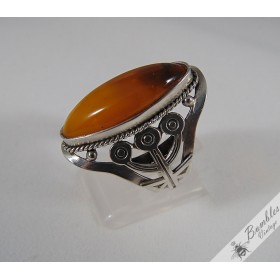 Russian USSR Baltic Amber Bezel Set Cabochon Vintage 875 Silver Large Ring c1960