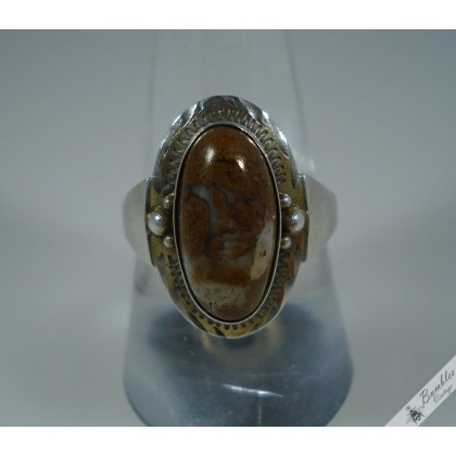 Genuine Vintage Moss Agate 900 Silver Ring in Art Deco Design European Brown