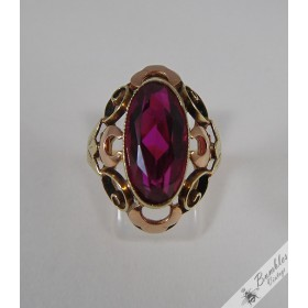 Large Czech European 14k Rose & Yellow Gold sim. Ruby Vintage Ring c1960