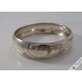 Stunning Vintage 900 Silver European Czech Etched Bracelet Bangle c1929-42