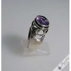 8ct Natural Amethyst Vintage Bohemian European High Set Sterling Silver Ring Art Deco