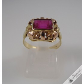 Vintage Bohemian European 14k Yellow & Rose Gold Rectangle Ruby Ring c1950