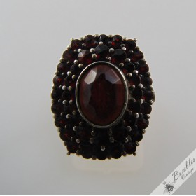 Gorgeous Vintage Bohemian Garnet 3 Tier Cocktail Cluster Ring 900 Silver c1960