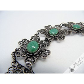 Bohemian Vintage Filigree 900 Silver Bracelet with Green Czech Glass Cabochons European