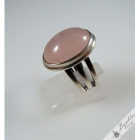 Bohemian Natural Rose Quartz Cabochon Sterling Silver Vintage Ring c1980