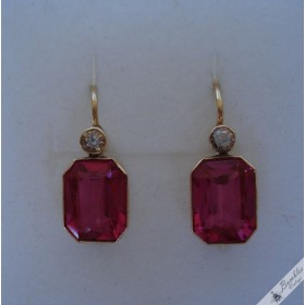 Vintage 14k Gold European Lever Earrings Simulated Ruby