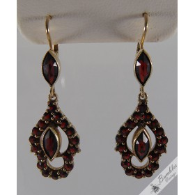 Vintage Bohemian Garnet Drop Lever Earrings Gold over Silver Vermeil European