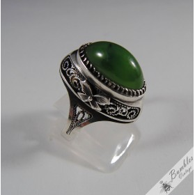 Traditional Russian Vintage Soviet Union Ring Green Agate 875 Silver USSR