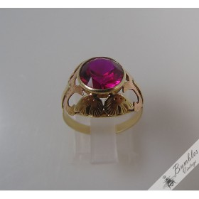 Bohemian Vintage 14k Yellow & Rose Gold Solitaire Ruby Ring c1920