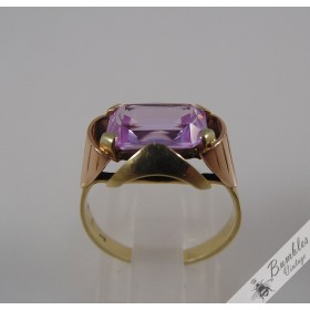 Vintage Bohemian 14k Yellow & Rose Gold High Set Pink Amethyst Rose de France Art Deco Ring European