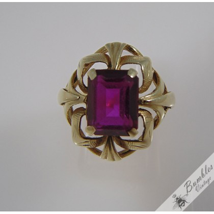 Vintage 14k Gold Bohemian Ornate Ruby Ring Czech European