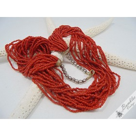 Vintage Twisted Natural Coral Bead Necklace Chunky Statement