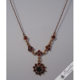Vintage Bohemian Garnet Necklace Gold over Sterling Silver