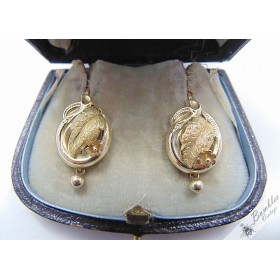 Antique European Biedermeier 14k Gold Earrings circa 1840