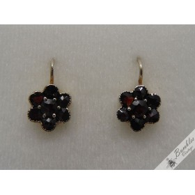 Circa 1920 Vintage Bohemian Garnet 800 Silver Flower Lever Earrings Czech Antique
