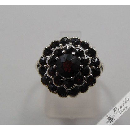 Vintage Bohemian Garnet Three Tier Ring 900 Silver European Czech