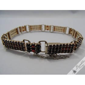 Vintage Bohemian Garnet Vermeil Panel Bracelet Three Row