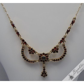 Vintage Bohemian Garnet Vermeil Gold over Silver Necklace Art Nouveau Antique c1950s