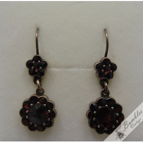 Vintage Bohemian Garnet Flower Dangle Earrings Vermeil Gold over Silver