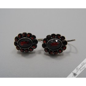 Vintage Bohemian Garnet Earrings Lever Czech European 900 Silver