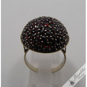 Vintage Bohemian Garnet Cluster Mushroom Cocktail Ring 900 Silver Vermeil European Czech