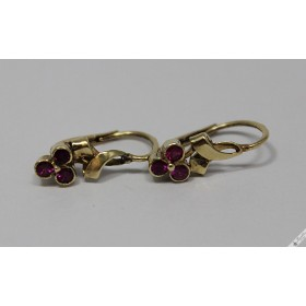 c1920 Original Vintage 14k Gold Bohemian Czech European Petite Lever Earrings Ruby Rubies