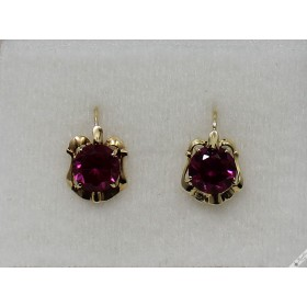 circa 160 Vintage Stunning Bohemian 14k Gold Lever Earrings Czechoslovakia European Ruby