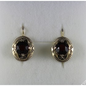 Vintage Retro Bohemian Silver Lever Earrings Deep Purple Stones c1950s