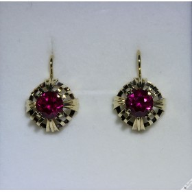 Vintage European Bohemian 14k Yellow Gold Earrings Simulated Ruby Rubies Lever c1950