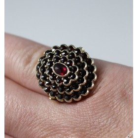 Vintage Bohemian Garnet Classic Flower Cluster Cocktail Ring European c1960