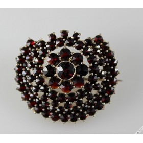 Vintage Rose Cut Bohemian Garnet Silver Round 4 Tier Brooch Antique