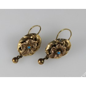 Antique Biedermeier 14k Gold Earrings Turquoise c1880