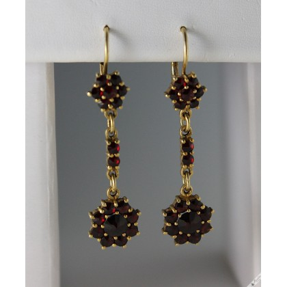 Vintage Rose Cut Bohemian Garnet Dangle Drop Earrings Lever Flower c1960