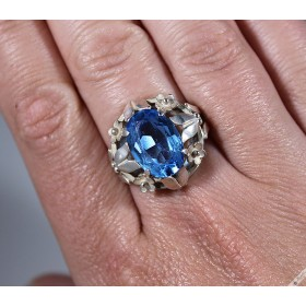 Vintage Bohemian Blue Simulated Topaz Aquamarine Flower Ring c1970s size Q1/2, 8