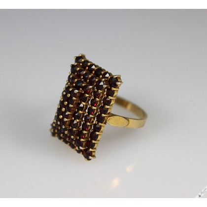Vintage Unique Large Statement Cocktail Ring Bohemian Garnet 4 Tier c1960 Size 8, Q1/2