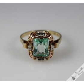 Vintage Art Deco 14k Gold Bohemian Green Natural Aquamarine Cocktail Ring c1930 size S, 9 1/4