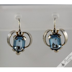 c1960 Vintage Bohemian Art Deco Silver Lever Earrings Czech sim. Aquamarine