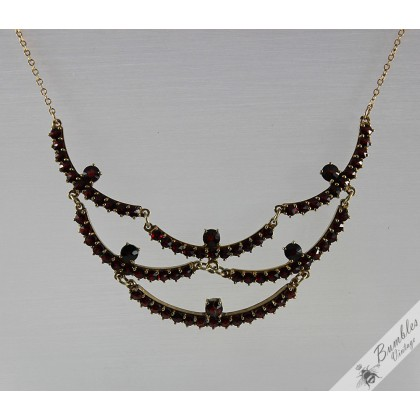 c1970 Unique Vintage Rose Cut Bohemian Garnet Vermeil Garland Necklace