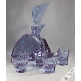 c1930s Art Deco Rare Signed Moser Karlsbad Decanter Bohemian Glass Set with Glasses