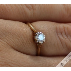 Vintage English 0.25ct Diamond 9k Gold Solitaire Crown Engagement Ring
